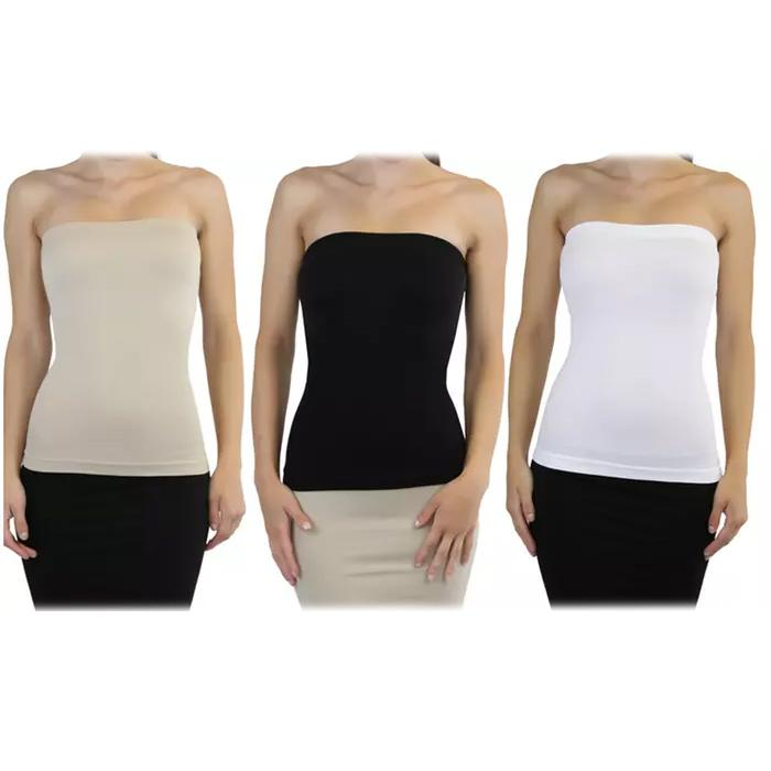 3-Pack: Sleek and Slimming Women's Tube Tops Women's Clothing Black/White/Beige - DailySale