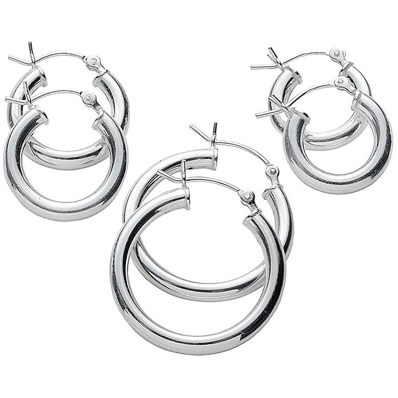 3-Pack: Sterling Silver Hoop Earrings Jewelry - DailySale