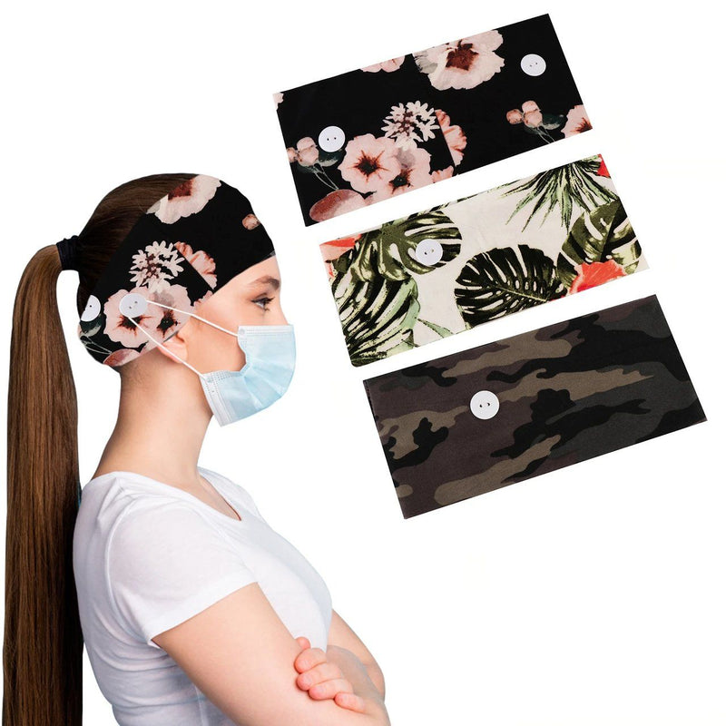 3-Pack: Women's Comfy Stretchy Headband With Buttons For Face Masks and Covers Women's Accessories Bonfren - DailySale