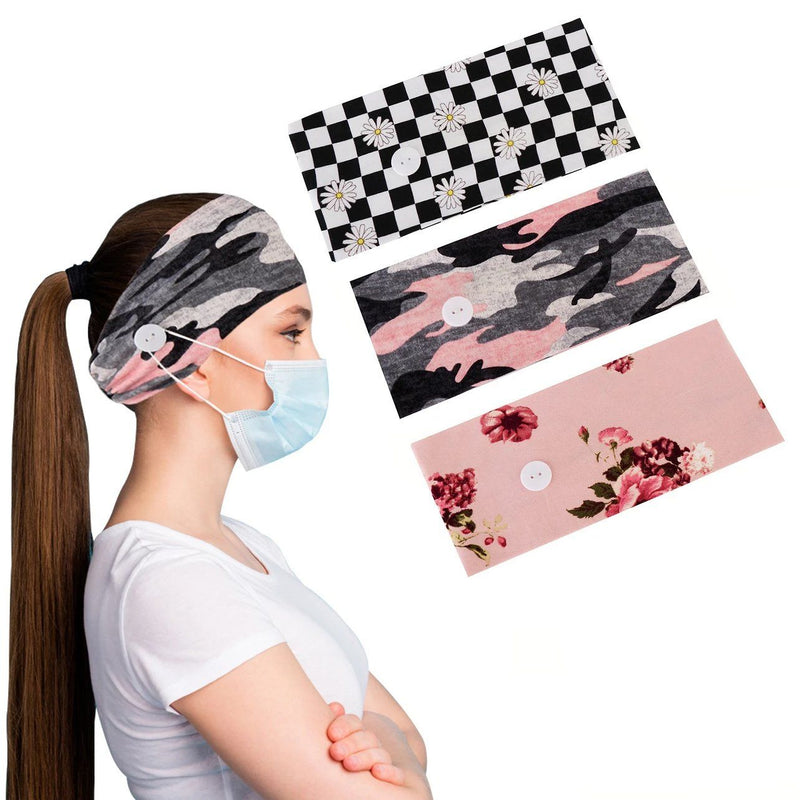3-Pack: Women's Comfy Stretchy Headband With Buttons For Face Masks and Covers Women's Accessories Carol - DailySale
