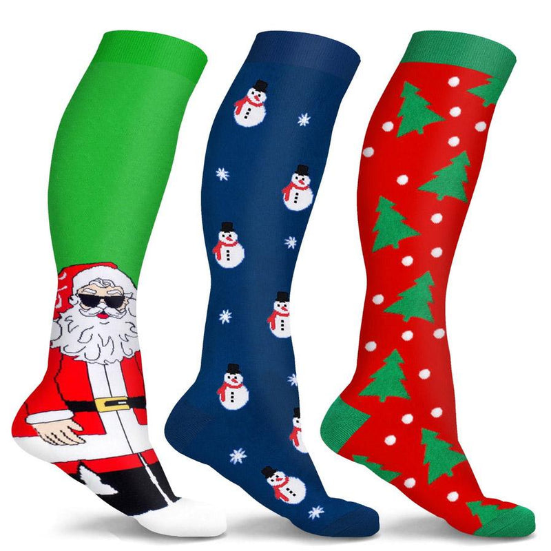 3-Pair: Holiday Knee-High Compression Socks Wellness Fun & Chill S/M - DailySale