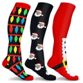 3-Pair: Holiday Knee-High Compression Socks Wellness Fun & Festive S/M - DailySale