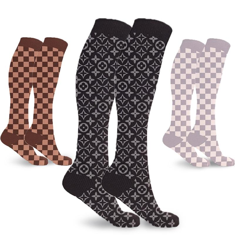 3-Pairs: Designer Inspired Knee High Compression Socks Wellness & Fitness - DailySale
