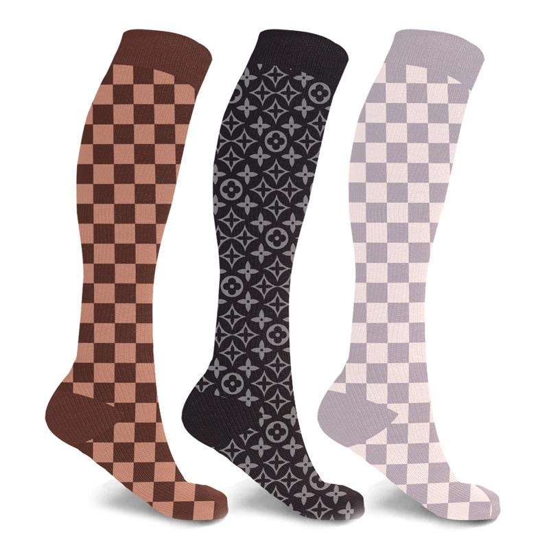 3-Pairs: Designer Inspired Knee High Compression Socks Wellness & Fitness L/XL - DailySale