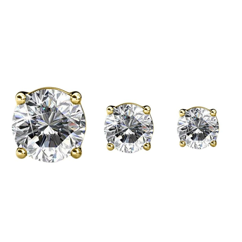 3-Pairs: Elements of Love Crystal Stud Earrings Jewelry Gold - DailySale