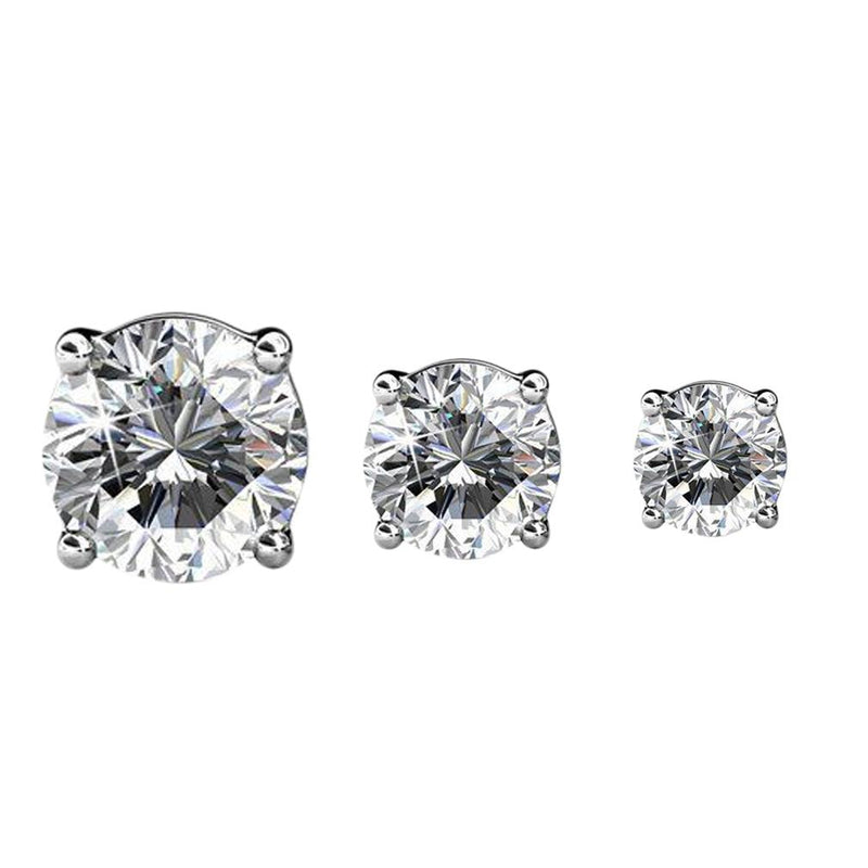 3-Pairs: Elements of Love Crystal Stud Earrings Jewelry White Gold - DailySale
