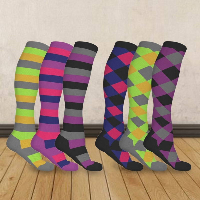 3-Pairs: Patterned Compression Socks - Assorted Styles and Sizes Wellness & Fitness - DailySale