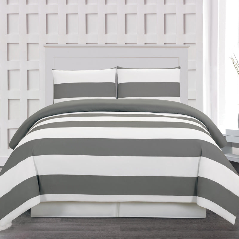 3-Piece: Cabana Stripe Reversible Hypoallergenic Duvet Set Bedding Gray - DailySale