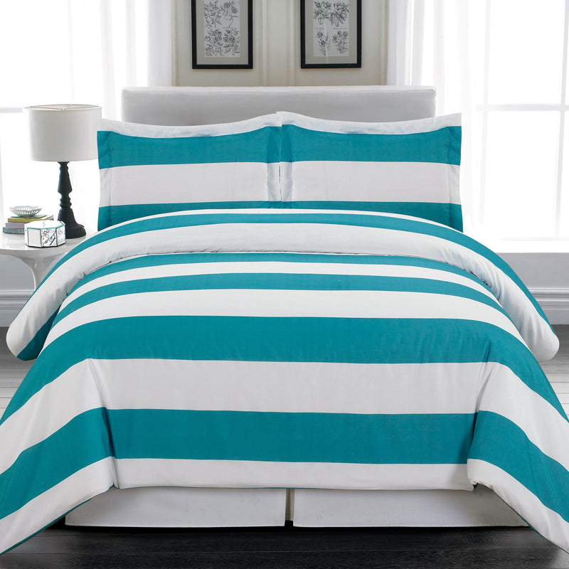 3-Piece: Cabana Stripe Reversible Hypoallergenic Duvet Set Bedding Teal - DailySale