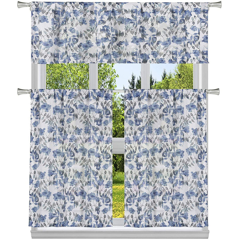 3-Piece: Chic Floral Pattern Semi-Sheer Kitchen Curtain Tier and Valance Set Lighting & Decor Blue - DailySale