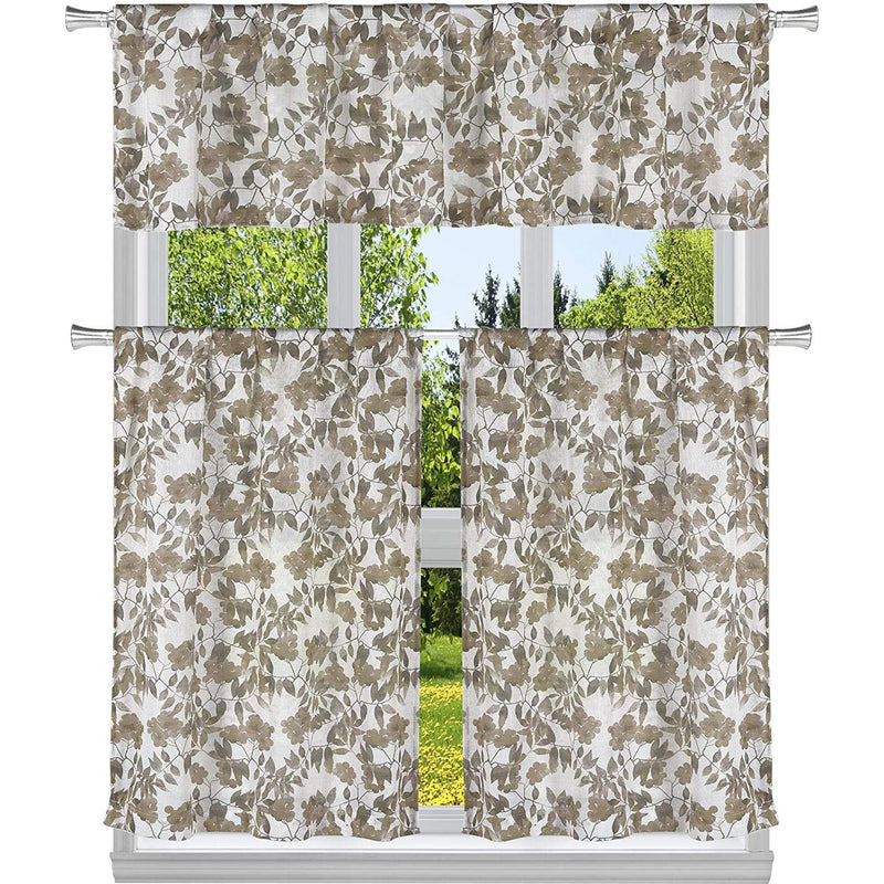 3-Piece: Chic Floral Pattern Semi-Sheer Kitchen Curtain Tier and Valance Set Lighting & Decor Taupe - DailySale
