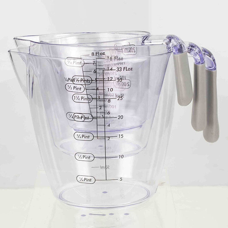3-Piece: Home Basics Clear Plastic Measuring Cup Set with Rubber Grip Handles Kitchen & Dining - DailySale
