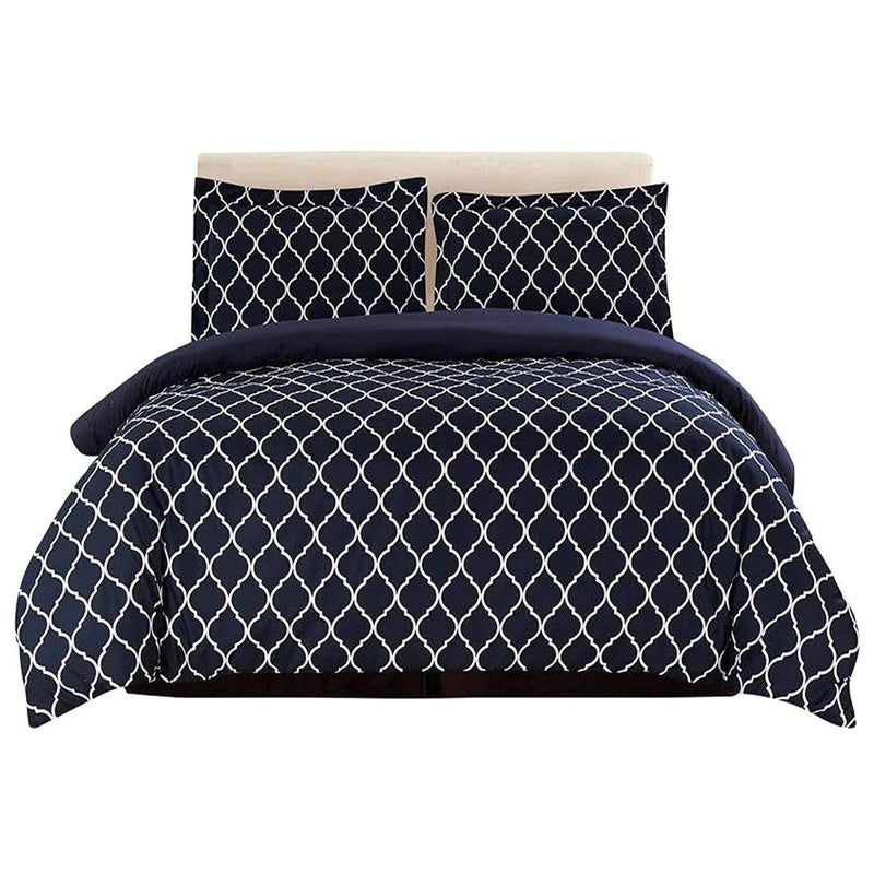 3-Piece: Lux Decor Collection Duvet Cover Set Linen & Bedding King Black/White - DailySale