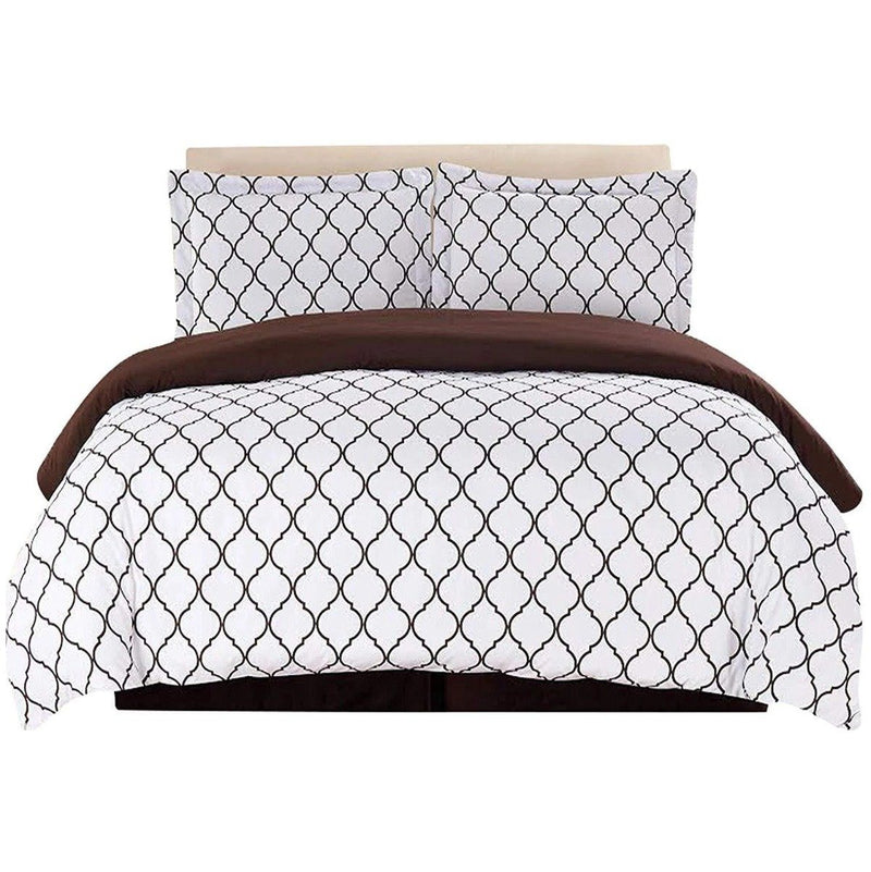 3-Piece: Lux Decor Collection Duvet Cover Set Linen & Bedding King Brown/White - DailySale