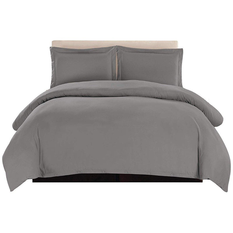 3-Piece: Lux Decor Collection Duvet Cover Set Linen & Bedding King Dark Gray - DailySale