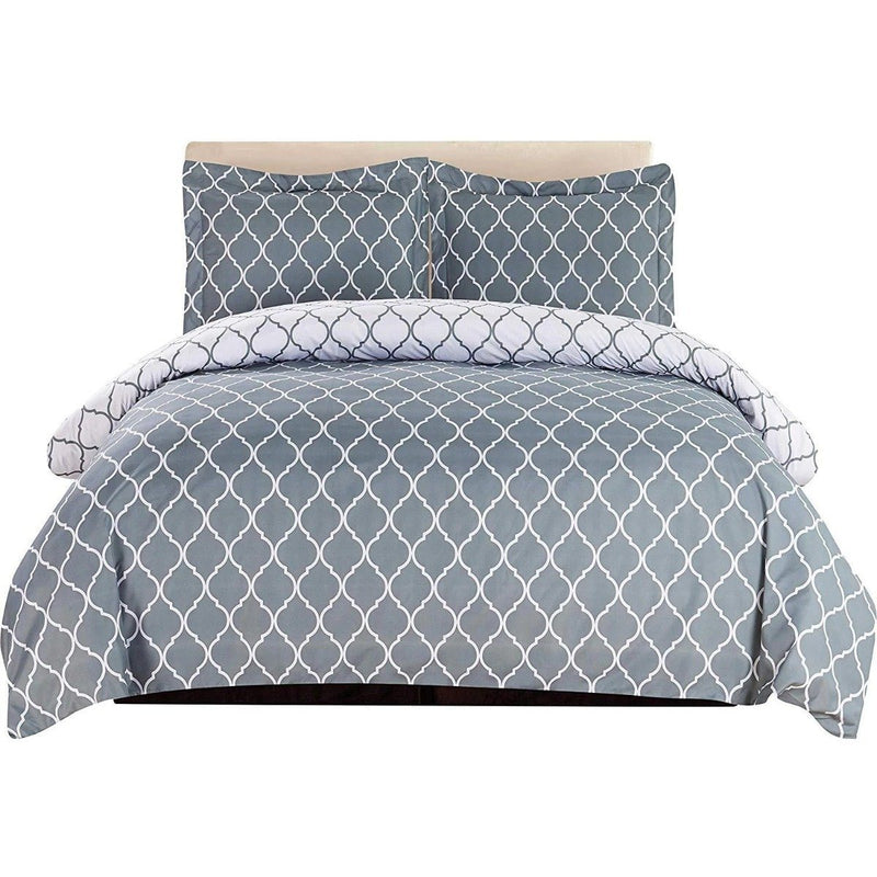 3-Piece: Lux Decor Collection Duvet Cover Set Linen & Bedding King Gray/White - DailySale