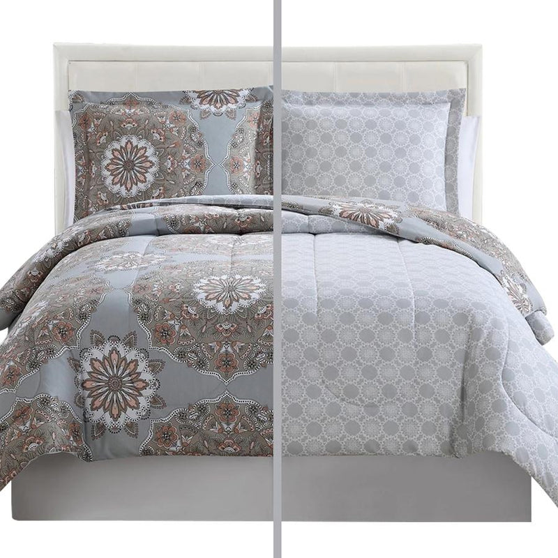 3-Piece: Lux Decor Collection Duvet Cover Set Linen & Bedding King Marlo Gray Brown - DailySale