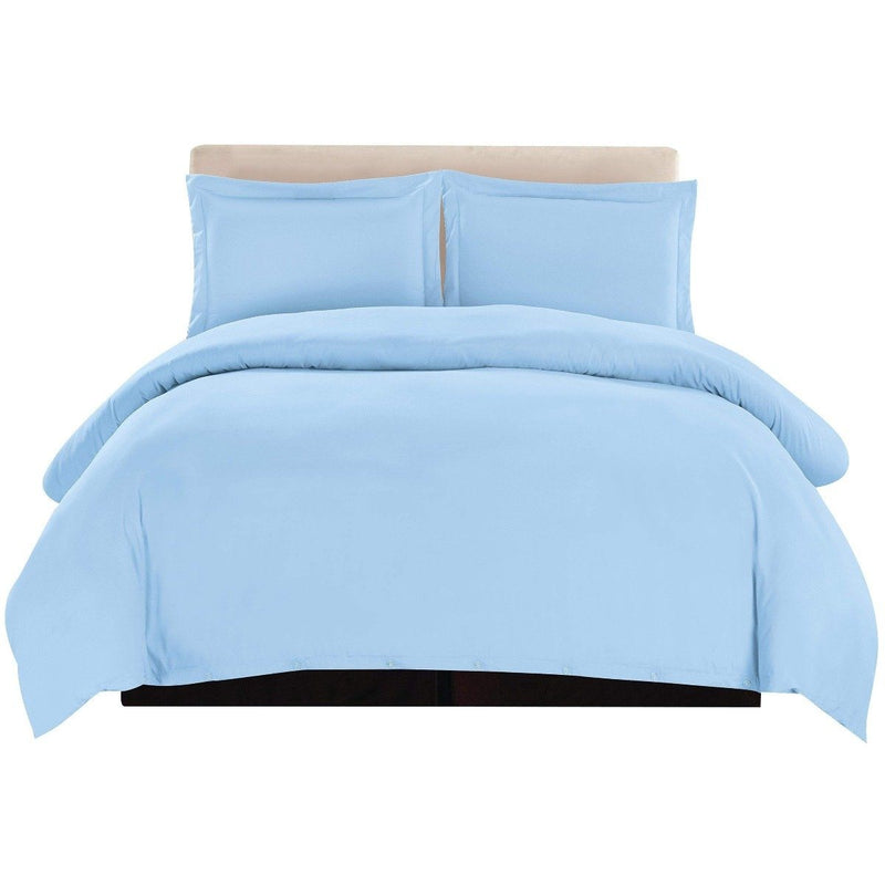 3-Piece: Lux Decor Collection Duvet Cover Set Linen & Bedding Queen Blue - DailySale