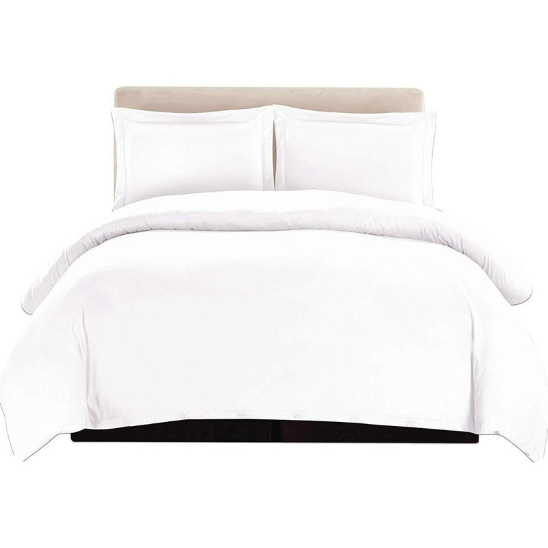 3-Piece: Lux Decor Collection Duvet Cover Set Linen & Bedding Queen White - DailySale