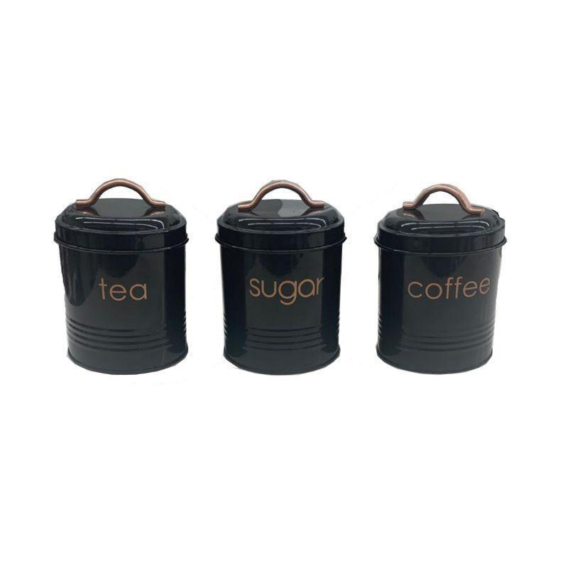 3-Piece: Metal and Copper Coffee Tea Sugar Canister Set Kitchen & Dining Black - DailySale