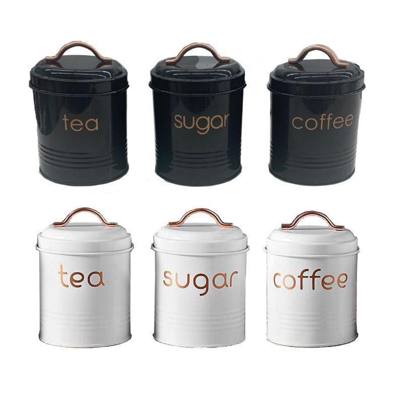 3-Piece: Metal and Copper Coffee Tea Sugar Canister Set Kitchen & Dining Black/White - DailySale