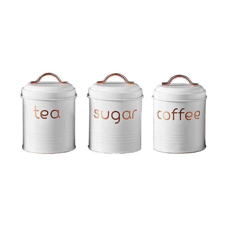 3-Piece: Metal and Copper Coffee Tea Sugar Canister Set Kitchen & Dining White - DailySale