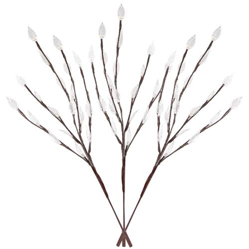 3-Piece Set: 60 LED Solar Garden Lights Tree Branch Leaf Shape Lamp Lighting & Decor White - DailySale