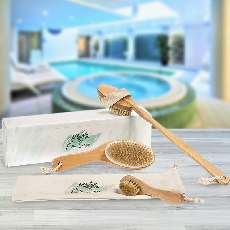 3-Piece Set: Blu Oasis Premium Dry Brushes with Travel Bag Beauty & Personal Care - DailySale