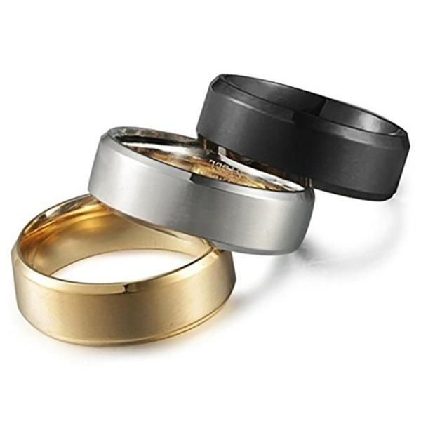3-Piece Set: Men's Stainless Steel Comfort Fit Wedding Band Ring - Assorted Sizes Men's Apparel - DailySale