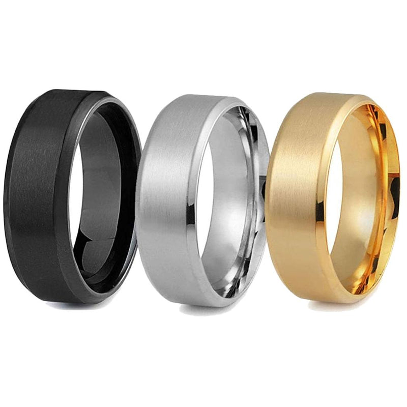 3-Piece Set: Men's Stainless Steel Comfort Fit Wedding Band Ring Men's Apparel 13 - DailySale