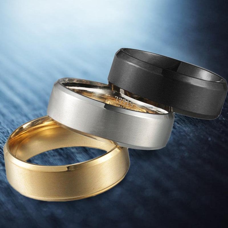3-Piece Set: Men's Stainless Steel Comfort Fit Wedding Band Ring Men's Apparel - DailySale