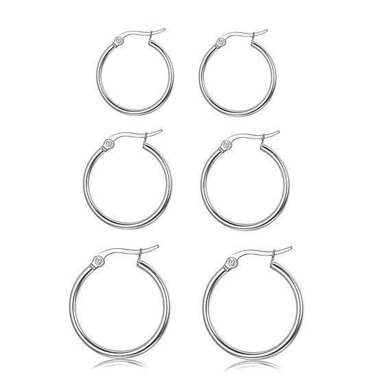 3-Piece Set: Sterling Silver French Lock Hoops Jewelry - DailySale