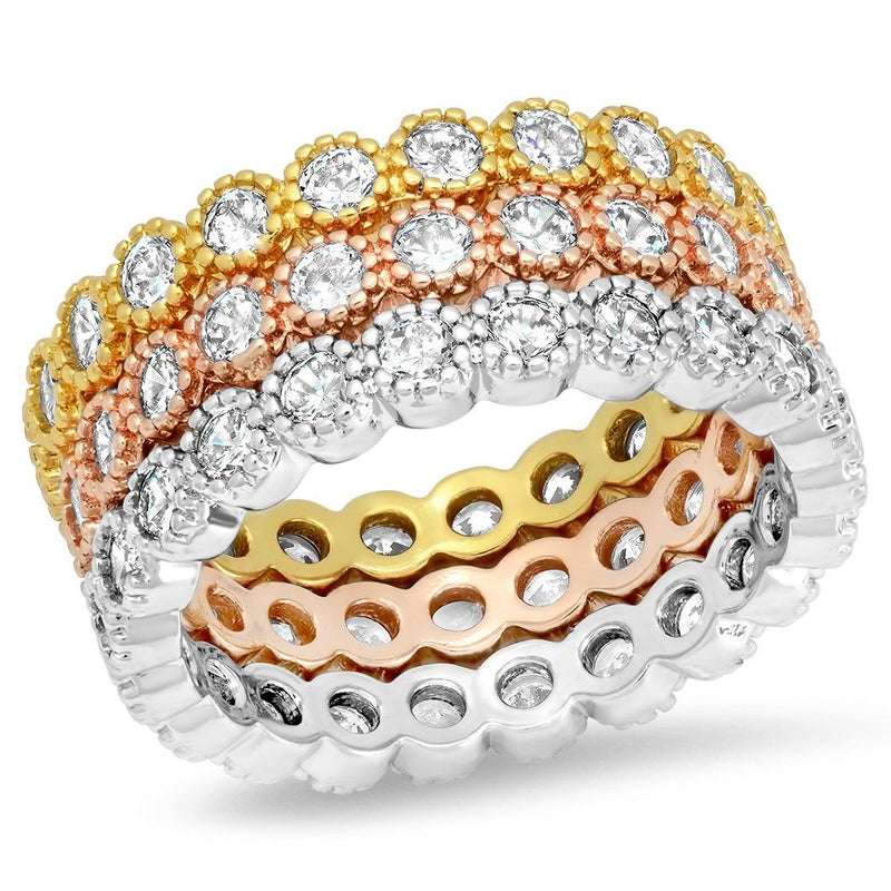 3-Piece Set: Tri-toned 18k White, Gold and Rose Stackable Eternity Rings Rings 6 - DailySale