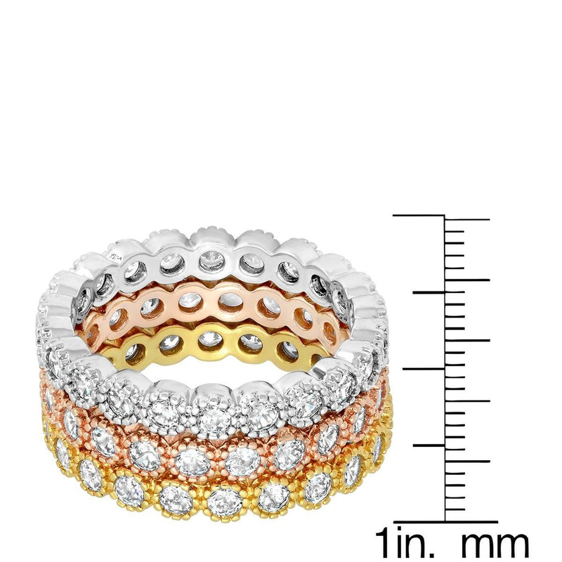 3-Piece Set: Tri-toned 18k White, Gold and Rose Stackable Eternity Rings Rings - DailySale