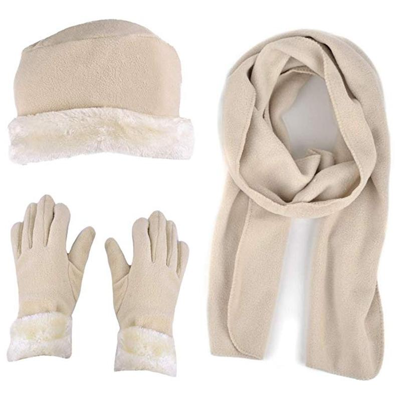 3-Piece Set: Women's Warm Fleece Winter Set Fur Trim Women's Apparel Beige - DailySale