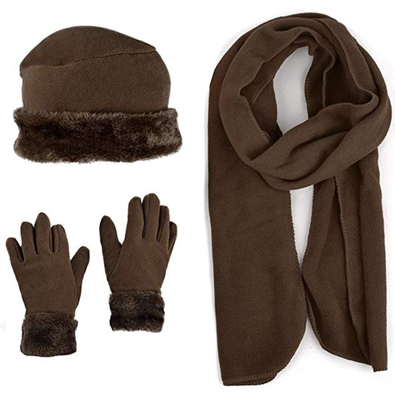 3-Piece Set: Women's Warm Fleece Winter Set Fur Trim Women's Apparel Brown - DailySale