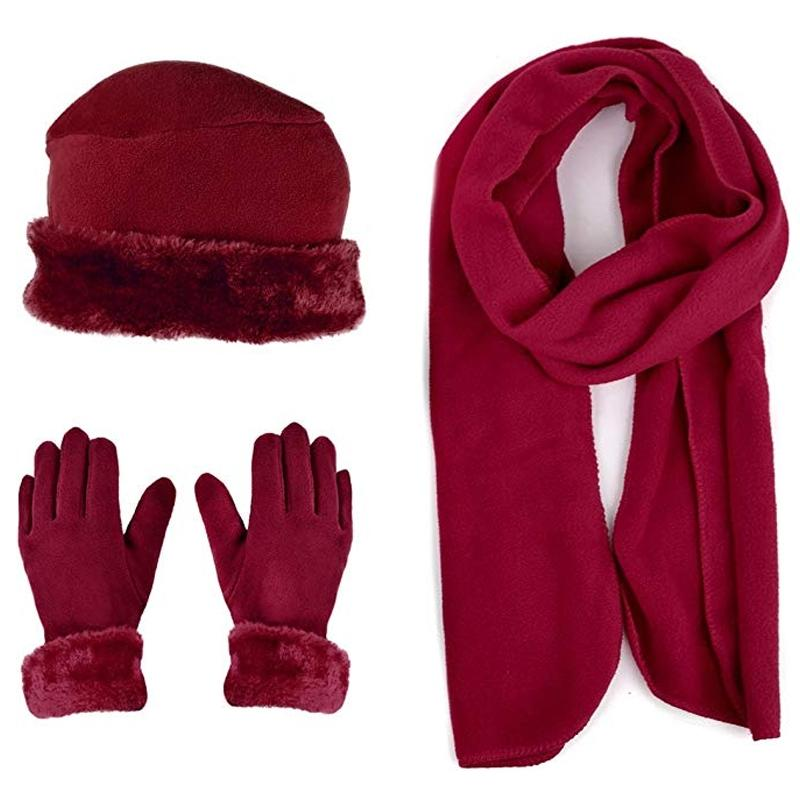 3-Piece Set: Women's Warm Fleece Winter Set Fur Trim Women's Apparel Burgundy - DailySale