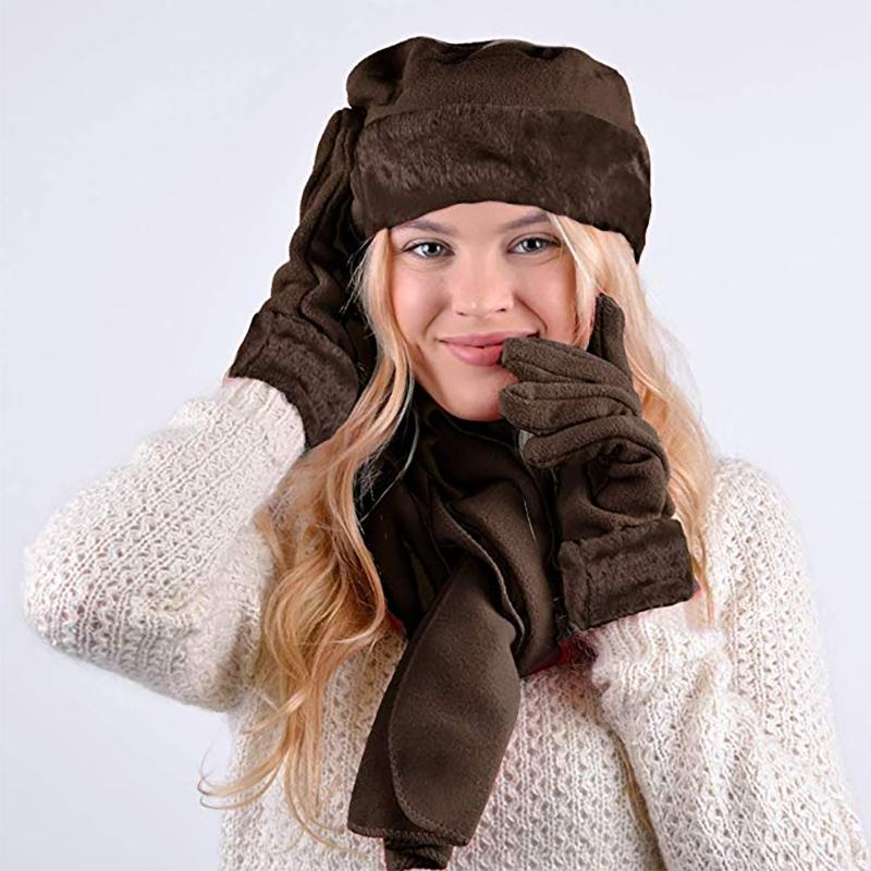 3-Piece Set: Women's Warm Fleece Winter Set Fur Trim Women's Apparel - DailySale