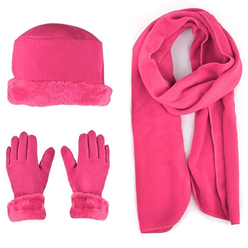 3-Piece Set: Women's Warm Fleece Winter Set Fur Trim Women's Apparel Hot Pink - DailySale