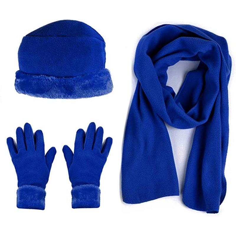3-Piece Set: Women's Warm Fleece Winter Set Fur Trim Women's Apparel Royal Blue - DailySale