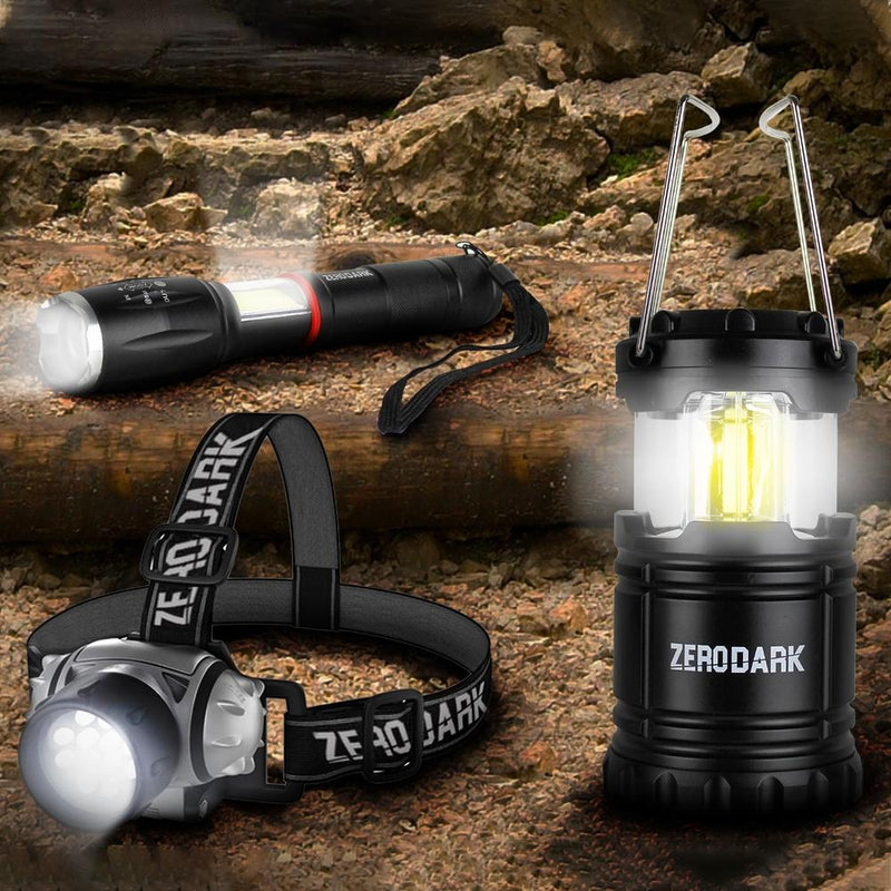 3-Piece Set: ZeroDark Tactical Flashlight, Lantern and Headlamp Sports & Outdoors - DailySale