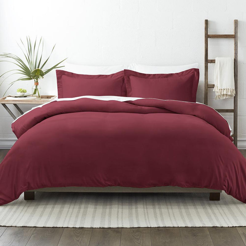 3-Piece: Solid Duvet Cover Set Bed & Bath Twin/Twin XL Burgundy - DailySale