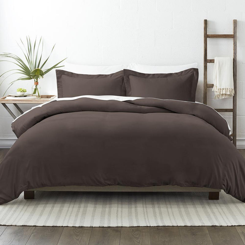 3-Piece: Solid Duvet Cover Set Bed & Bath Twin/Twin XL Chocolate - DailySale
