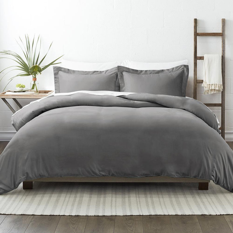 3-Piece: Solid Duvet Cover Set Bed & Bath Twin/Twin XL Gray - DailySale