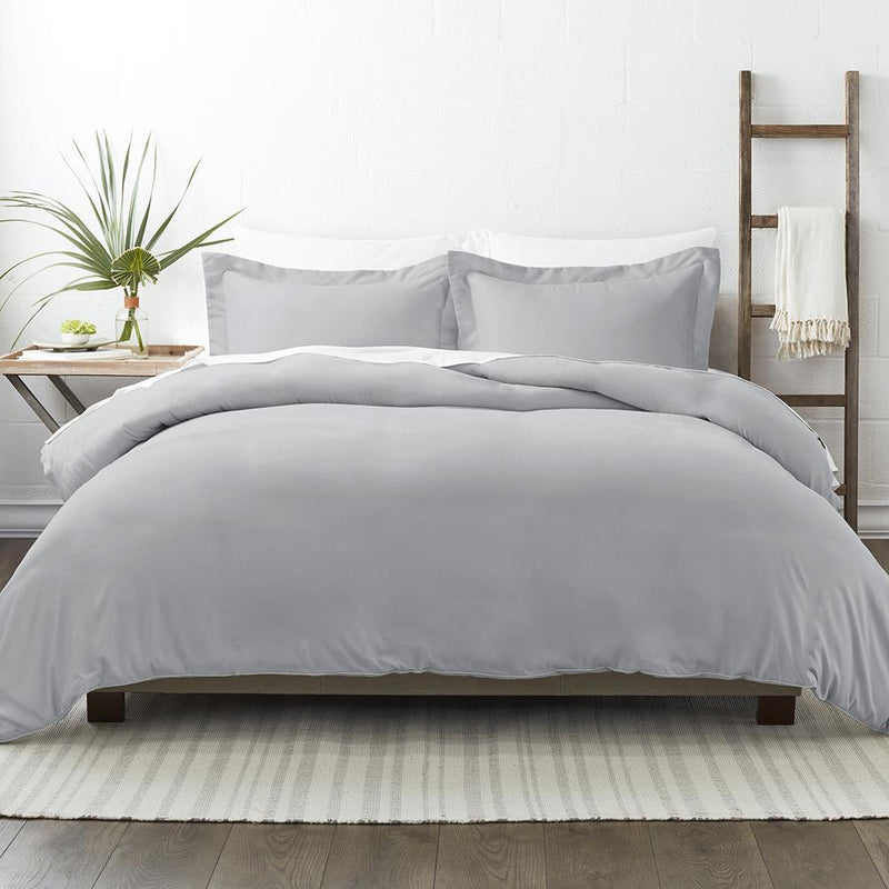 3-Piece: Solid Duvet Cover Set Bed & Bath Twin/Twin XL Light Gray - DailySale