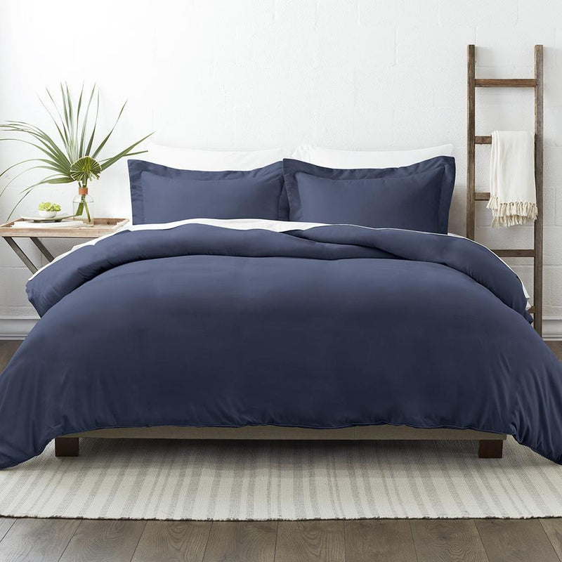3-Piece: Solid Duvet Cover Set Bed & Bath Twin/Twin XL Navy - DailySale