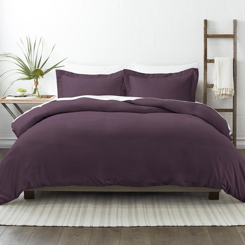 3-Piece: Solid Duvet Cover Set Bed & Bath Twin/Twin XL Purple - DailySale