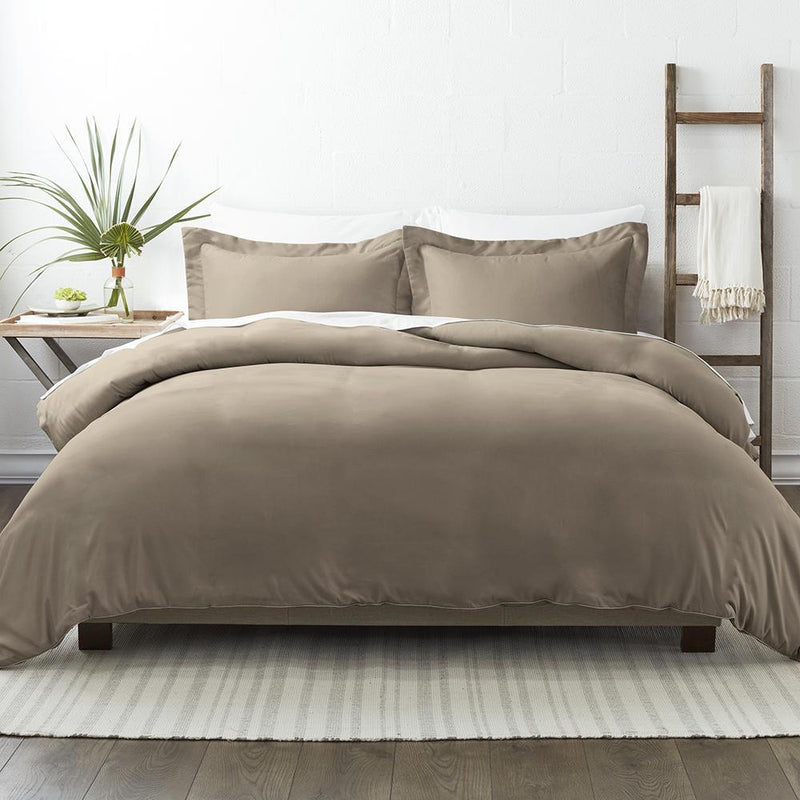 3-Piece: Solid Duvet Cover Set Bed & Bath Twin/Twin XL Taupe - DailySale