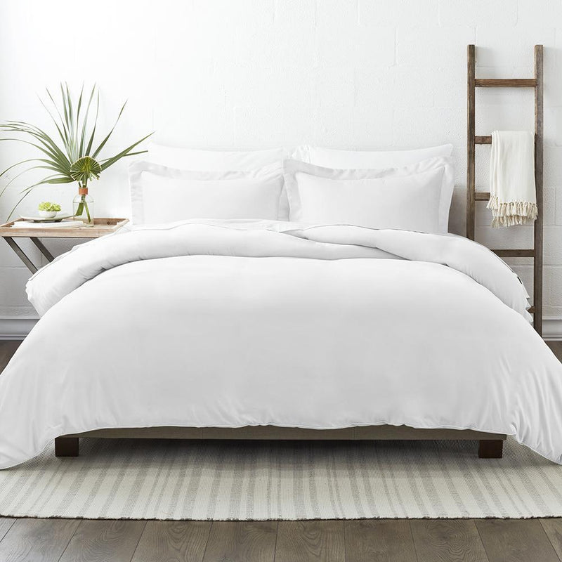 3-Piece: Solid Duvet Cover Set Bed & Bath Twin/Twin XL White - DailySale