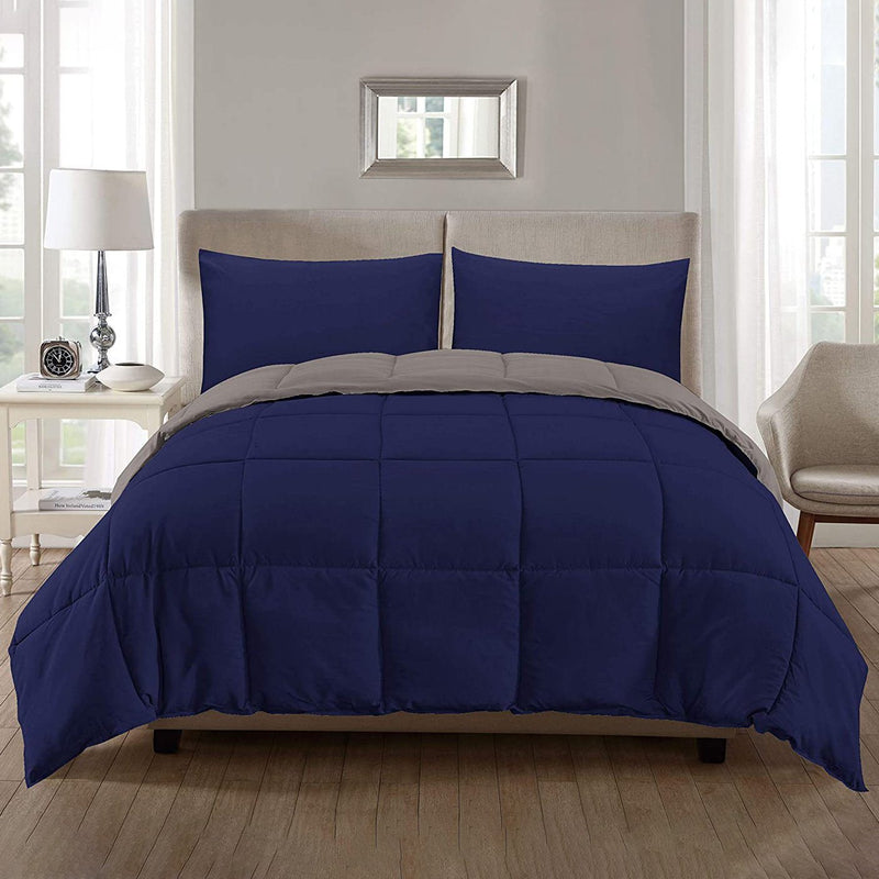 3-Piece: Ultra Soft Premium Down Alternative Reversible Comforter All Season Bedding Navy/Silver Full/Queen - DailySale